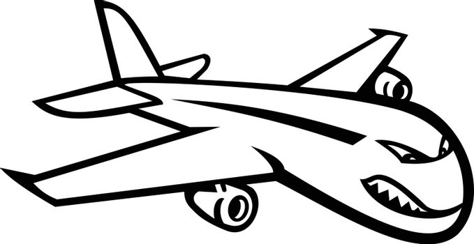 Black and white mascot illustration of an angry wide-body commercial jet airliner and cargo aircraft flying in full flight viewed from side on isolated background in retro style.