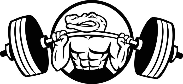 Black and white mascot illustration of an alligator, gator, crocodile or croc lifting a heavy barbell weight training or weightlifting viewed from front set inside circle on isolated background in retro style.