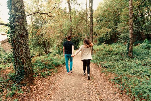 A young couple taking a walk in the park on autumn