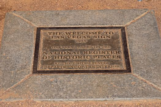 """Welcome to Fabulous Las Vegas Monument Sign.Plate labeled """"Included in National Registered History"""""""