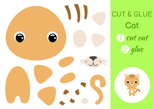 Cut and glue baby cat. Education developing worksheet. Color paper game for preschool children. Cut parts of image and glue on paper. Cartoon character. Colorful vector stock illustration.