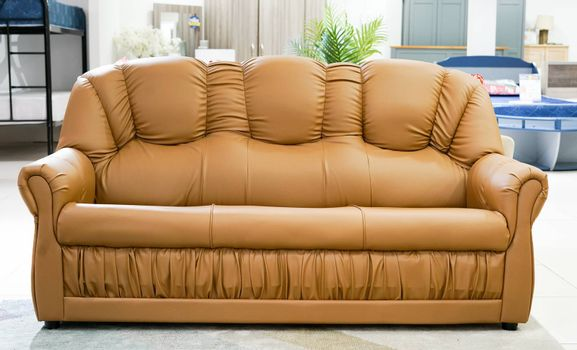 Brown color sofa set furniture isolated from home office background.