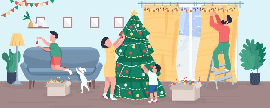 Family decorate Christmas tree semi flat vector illustration. New Year eve home. Garlands and light for household. Traditional holiday. Parents and children 2D cartoon characters for commercial use