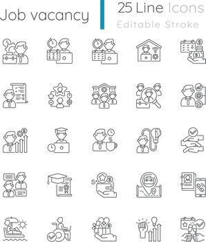 Job vacancy linear icons set