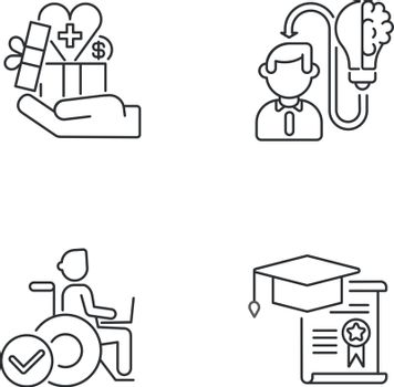 Business occupation linear icons set