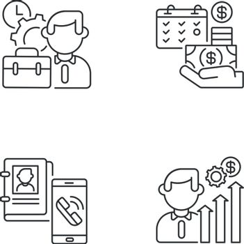 Professional occupation linear icons set