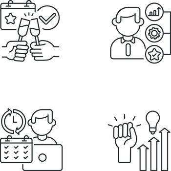 Company occupation linear icons set