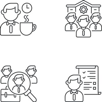 Recruitment linear icons set
