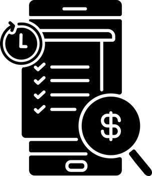 Transaction history black glyph icon
