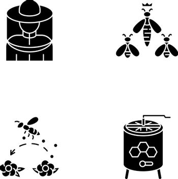 Beekeeping business black glyph icons set on white space