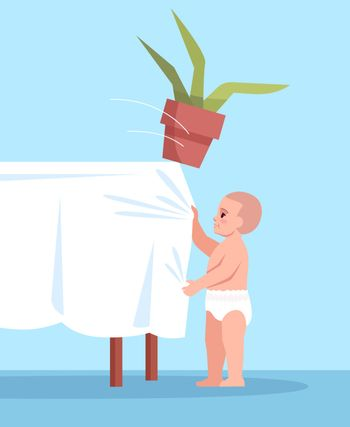 Curious child pulls tablecloth with flower semi flat RGB color vector illustration