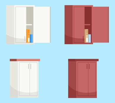 Red and white kitchen wall cabinets semi flat RGB color vector illustration set.