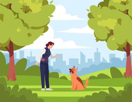 Dog training semi flat vector illustration