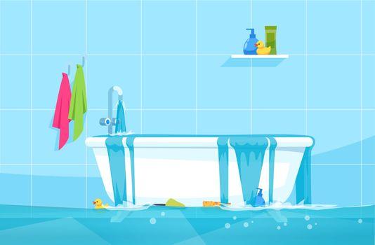 Overflowing bath semi flat vector illustration
