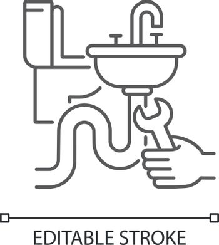 Plumbing installation linear icon
