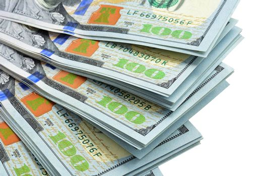 Money fan isolated. American dollars.