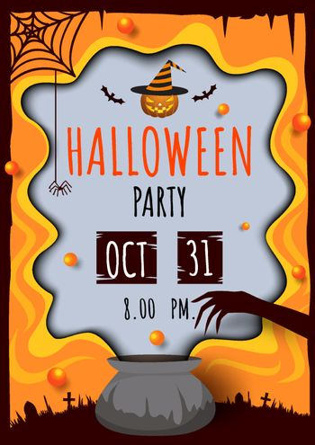 Illustration vector of Halloween party invitation card design with witch pot and smoke frame