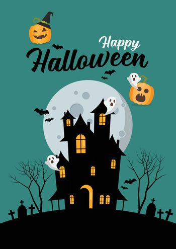 Happy Halloween Haunted House Greetiing Card