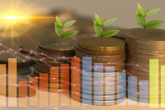 Abstract stacked coin ideas report investment and savings financial valuation