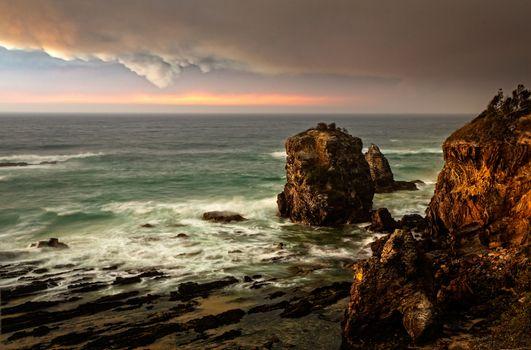 Pyrocumulonimbus clouds develop from bushfires nearby in Australia