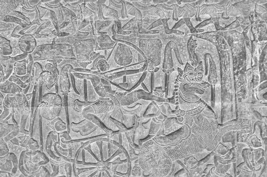 Bas-relief of an ancient temple. Angkor wat bas-relief in Cambodia.