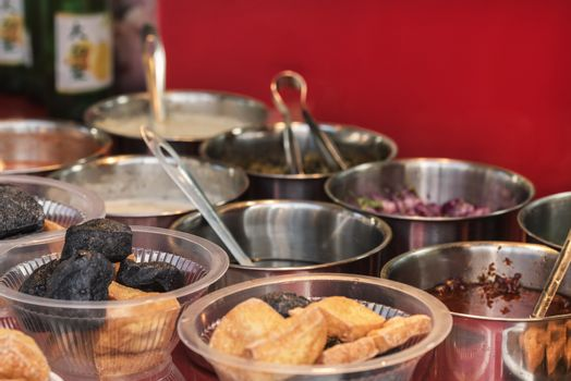 Asian food on the table. Buffet in Asia