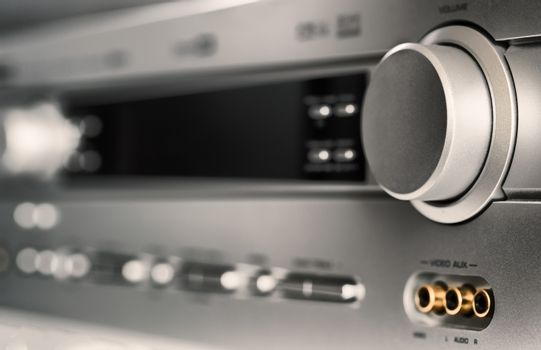 Hifi system amplifier. Home musical equipment closeup. Entertainment home system