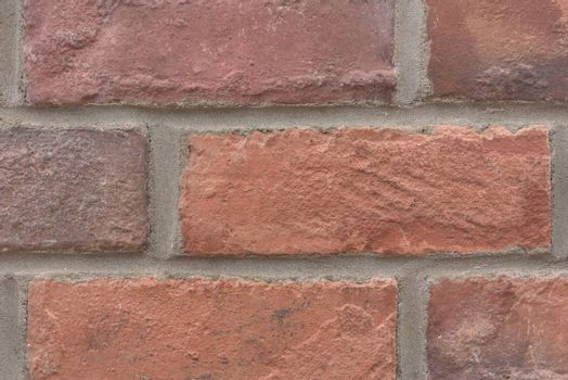 Close up of old red brick wall. Brick wall background.