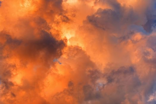 Dramatic sky with cloud. Clouds in the sky. Red smoke