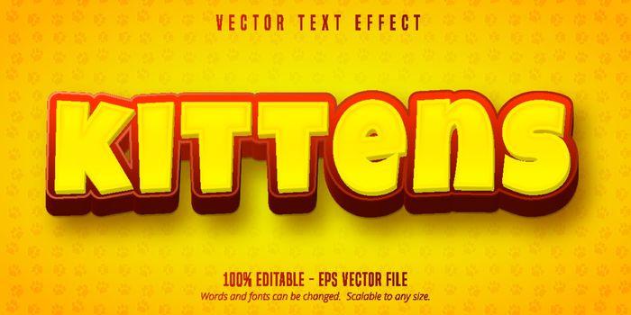 Kittens text, cartoon style editable text effect