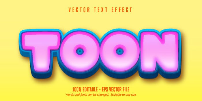 Toon text, game style editable text effect