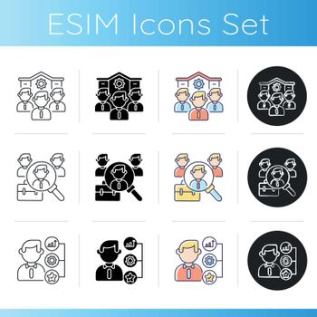 Company employment benefits icons set