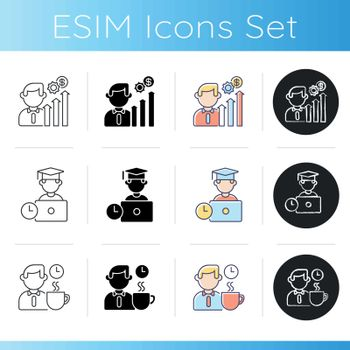 Business occupation icons set