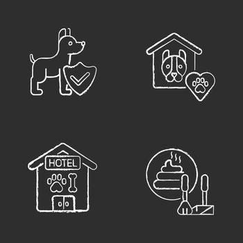 Animal welfare chalk white icons set on black background