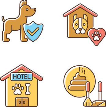 Animal welfare RGB color icons set