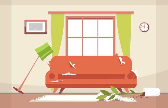 Messy sitting-room semi flat vector illustration