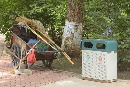 Garbage collection in the park. Outdoor trash cans in park