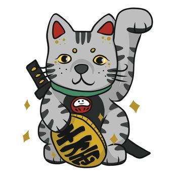 Samurai Tabby lucky cat with Japanese word mean lucky cartoon vector illustration