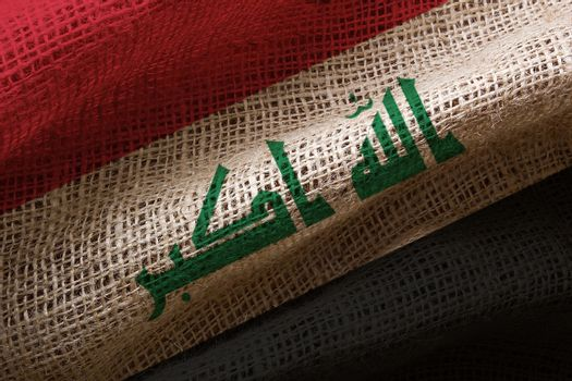 Close-up photograph of the flag of Iraq