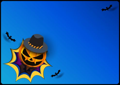 Halloween background with pumpkin devil in the hole