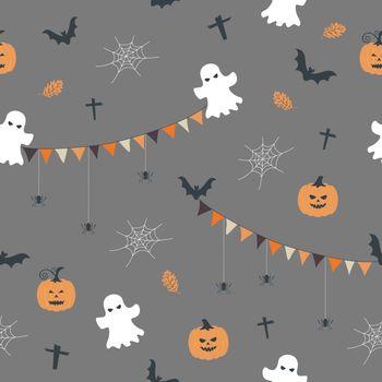 Seamless pattern with cute cartoon hand drawn on halloween theme,vector illustration