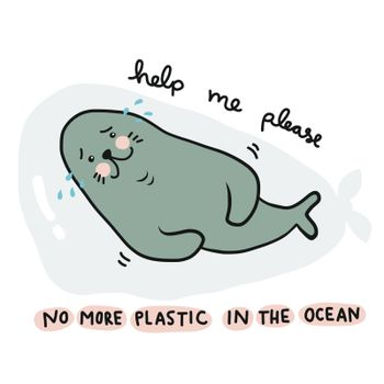 No more plastic in the ocean, Seal crying because struck in plastic bag and asking for help cartoon vector illustration doodle style