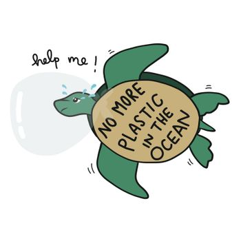 No more plastic in the ocean, sea turtles crying because plastic head struck in plastic bah and asking for help cartoon vector illustration doodle style