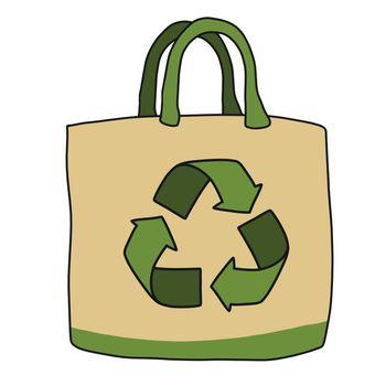 Reuse bag cartoon vector illustration