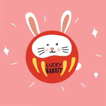 Lucky Rabbit Daruma (Japanese lucky charm) cute cartoon vector illustration doodle style