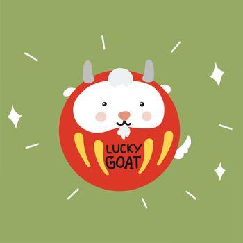 Lucky Goat Daruma (Japanese lucky charm) cute cartoon vector illustration doodle style