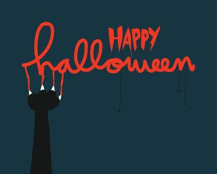 Happy Halloween black cat nail scratch vector illustration