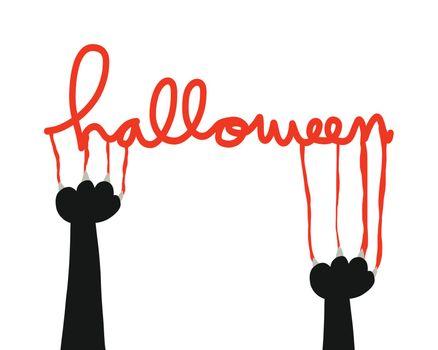 Halloween black cat nail scratch vector illustration