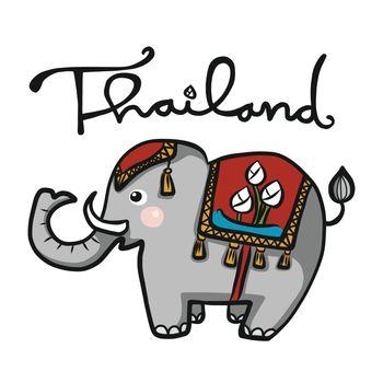 Thailand elephant wear red costume cartoon vector illustration