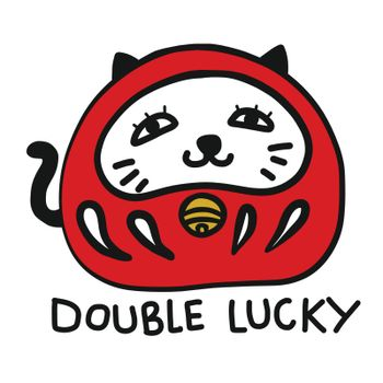 Daruma mixing with Lucky cat (Japanese lucky charm) cartoon vector illustration doodle style